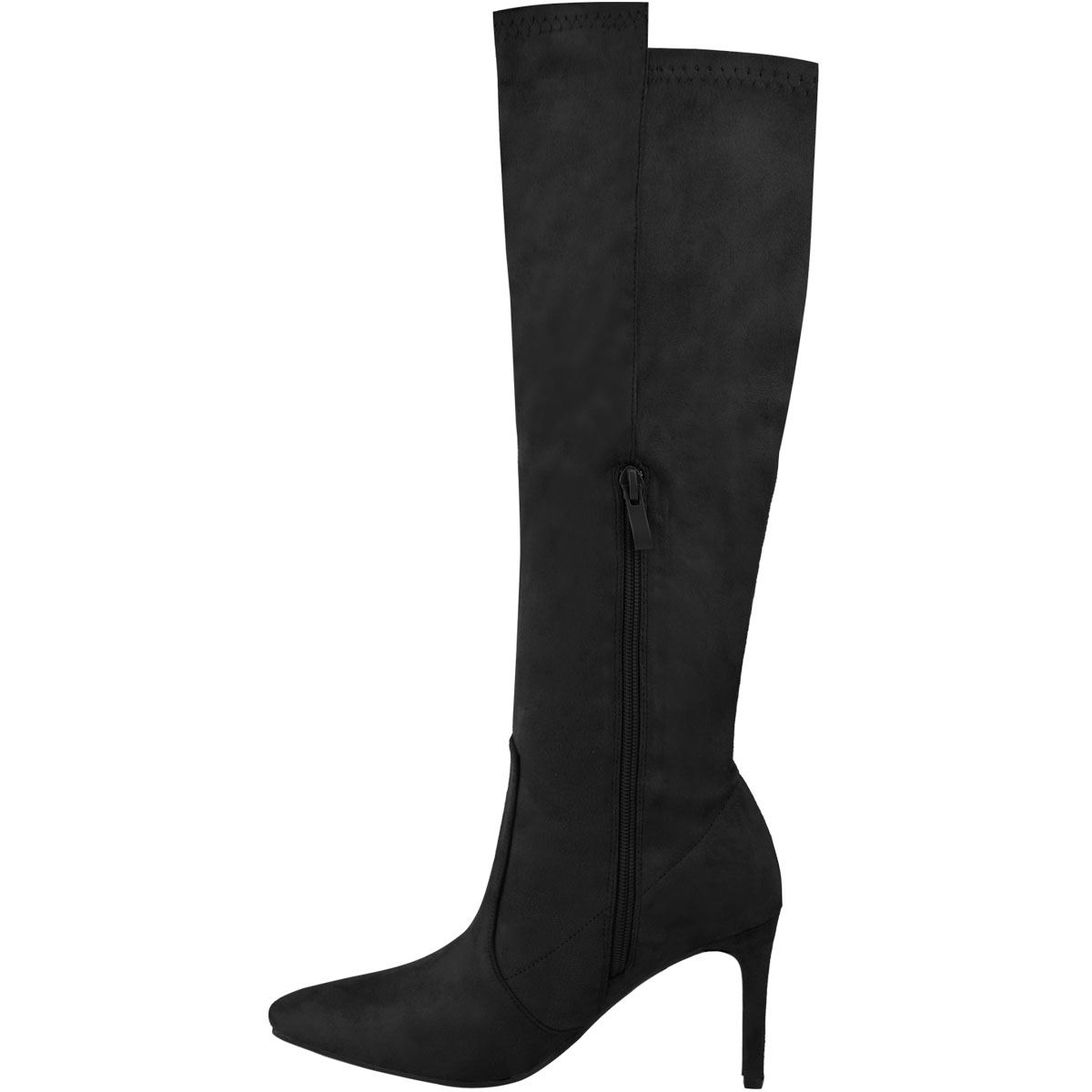 Ladies Womens Zip Up Knee High Pointed Toe Stiletto Heel Calf Boots Shoes Size