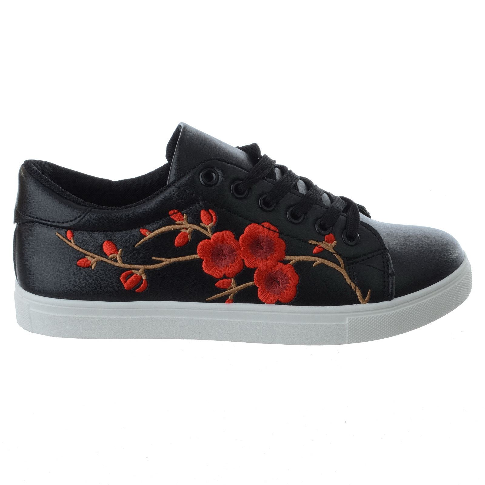 WOMENS LADIES NEW FLORAL EMBROIDERED LOW FLAT LACE UP LADIES TRAINERS PUMPS SIZE