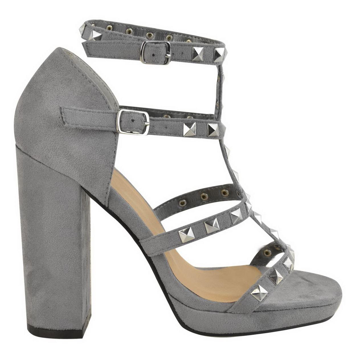 Femme Plateforme Talon Bloc Clous Sandales Femme Bride Cheville Sangle Sandales Chaussures Taille