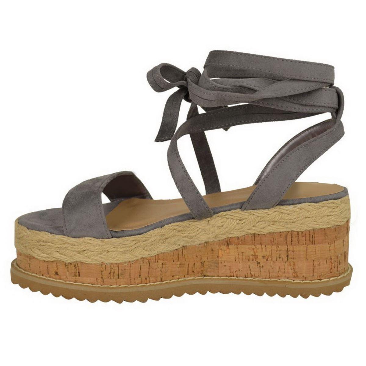 Womens Ladies Flat Wedge Platform Espadrille Sandals Lace Tie Up Summer Shoes