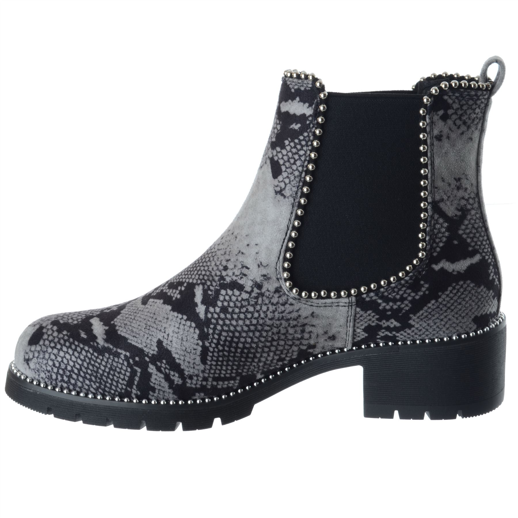 Womens Studded Chunky Chelsea Biker Riding Ladies Flat Ankle Boot Shoe Size