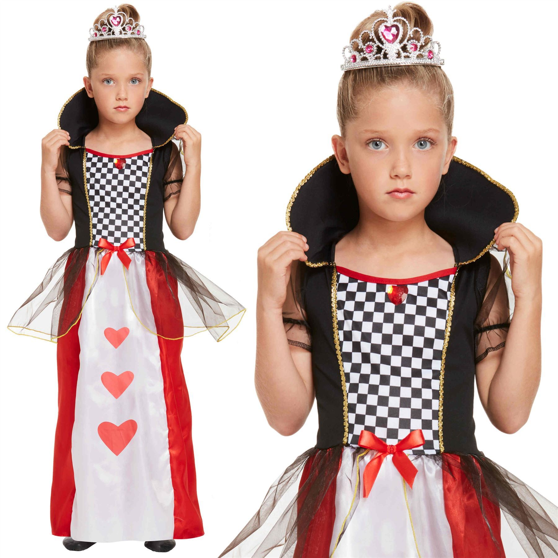 Girls Kids Child Queen Of Hearts Outfit Fancy Dress Costume Alice Book Week New