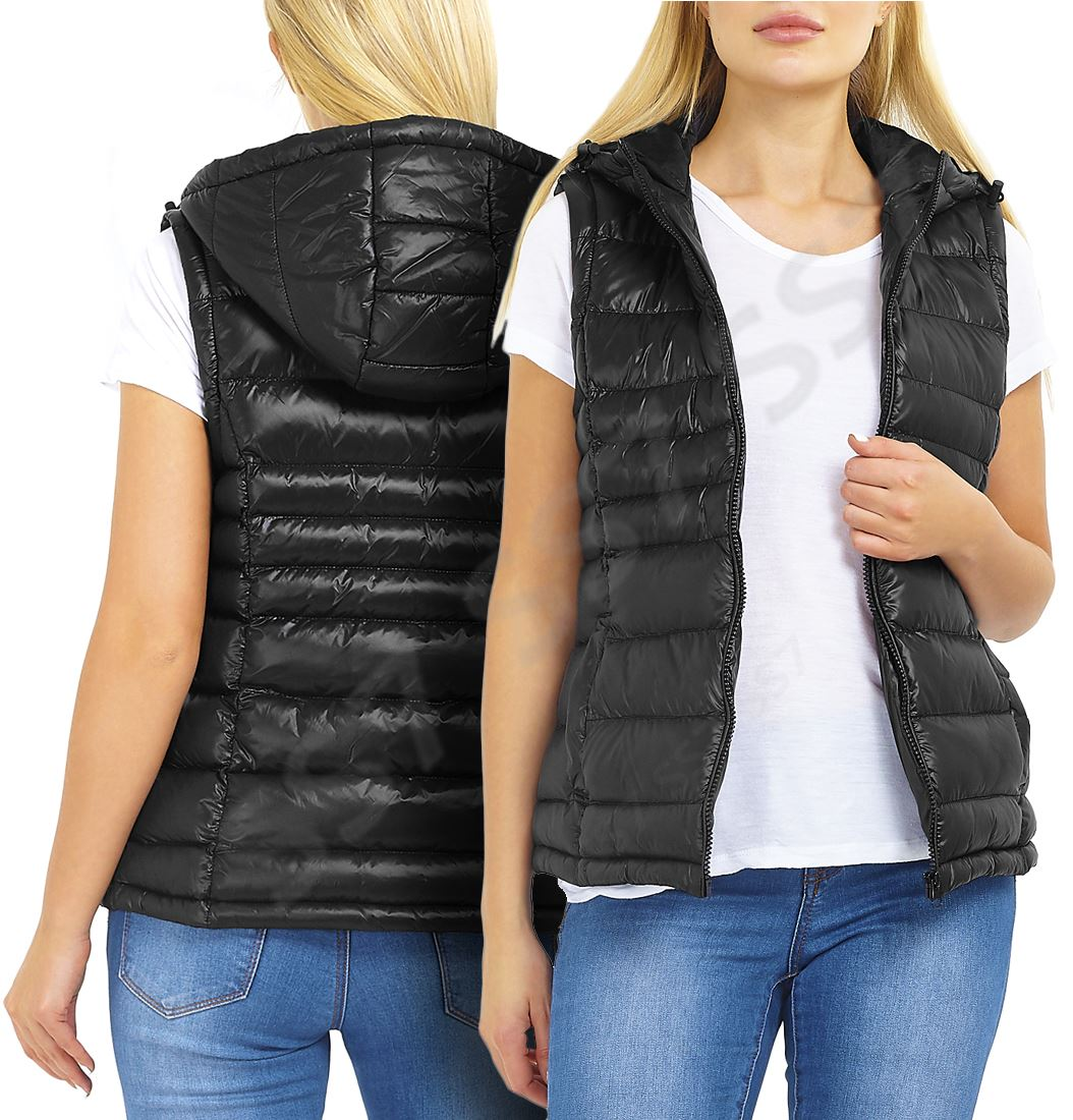 Womens Padded Gilet Bodywarmer Jacket Quilted Hood Waistcoat Size 16 14 12 10 8