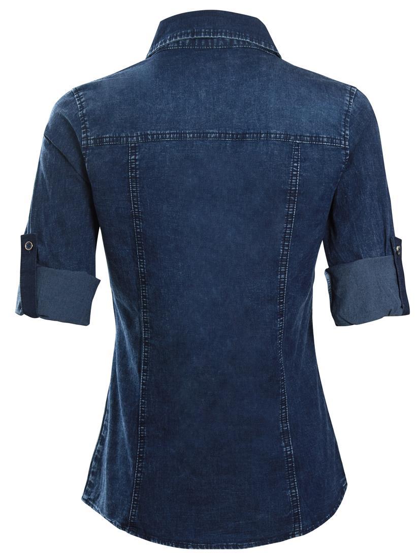 Womens Denim Stretch Shirt Ladies Indigo Jean Shirts Size 10 12 14 16 New