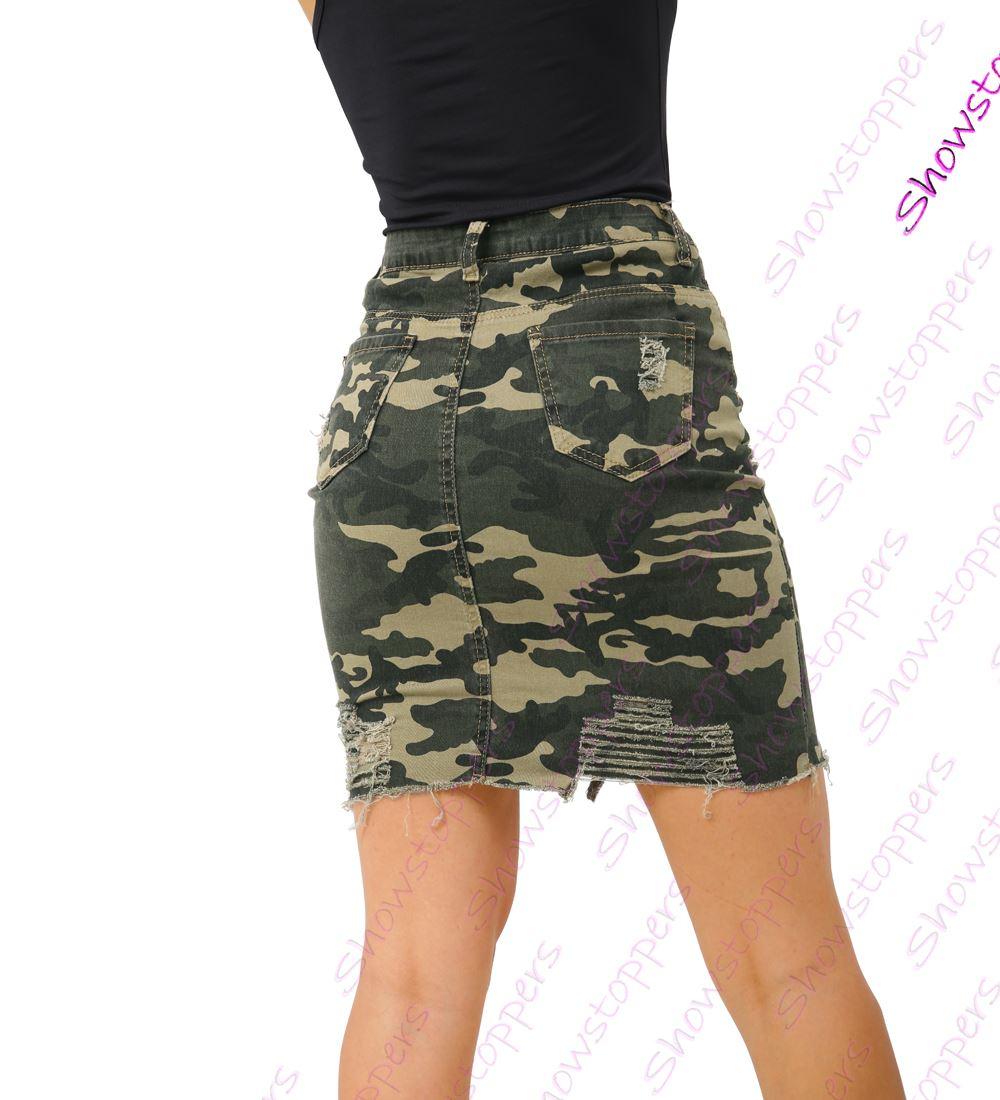 Womens Stretch Denim Cotton Skirt Camouflage Pencil Rip skirts Size 6 8 10 12 14