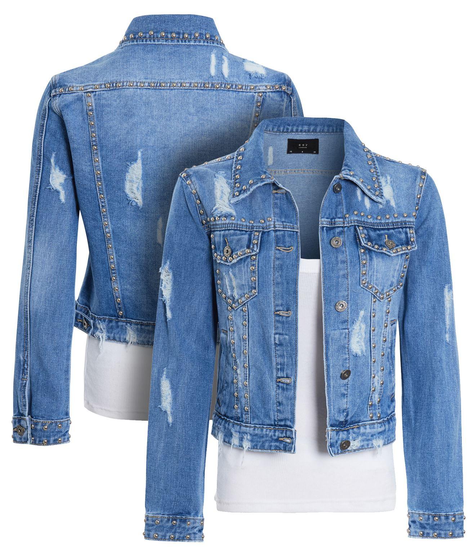 Womens Size 14 12 10 8 Stud Denim Jacket Ladies Sequins Jean Jackets Denim Blue