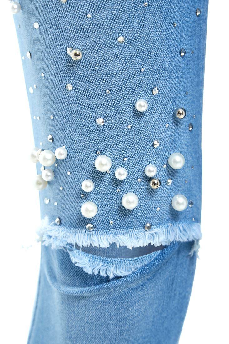 Womens Pearl Slim Fit Jean Denim Skinny Knee Rip Jeans Size 10 12 14 6 8 New