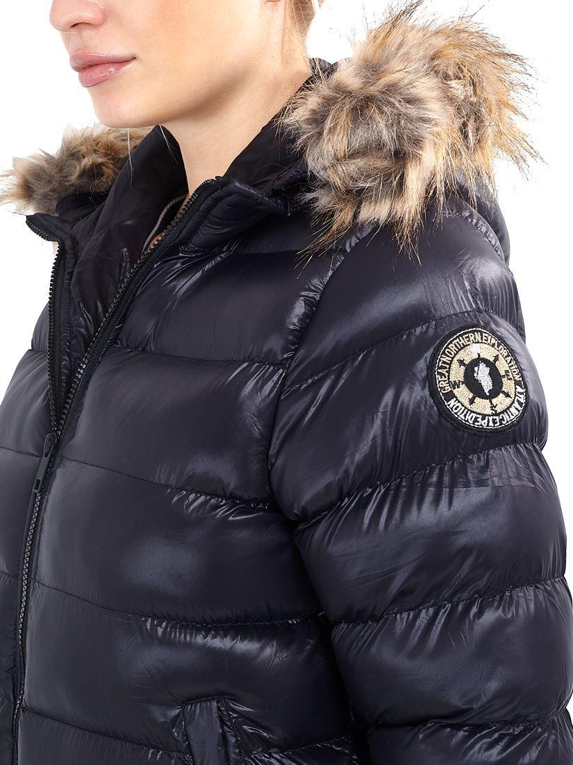 Femme Doudoune Rembourré Fausse fourrure manteau taille 12 8 10 14 16 à capuche