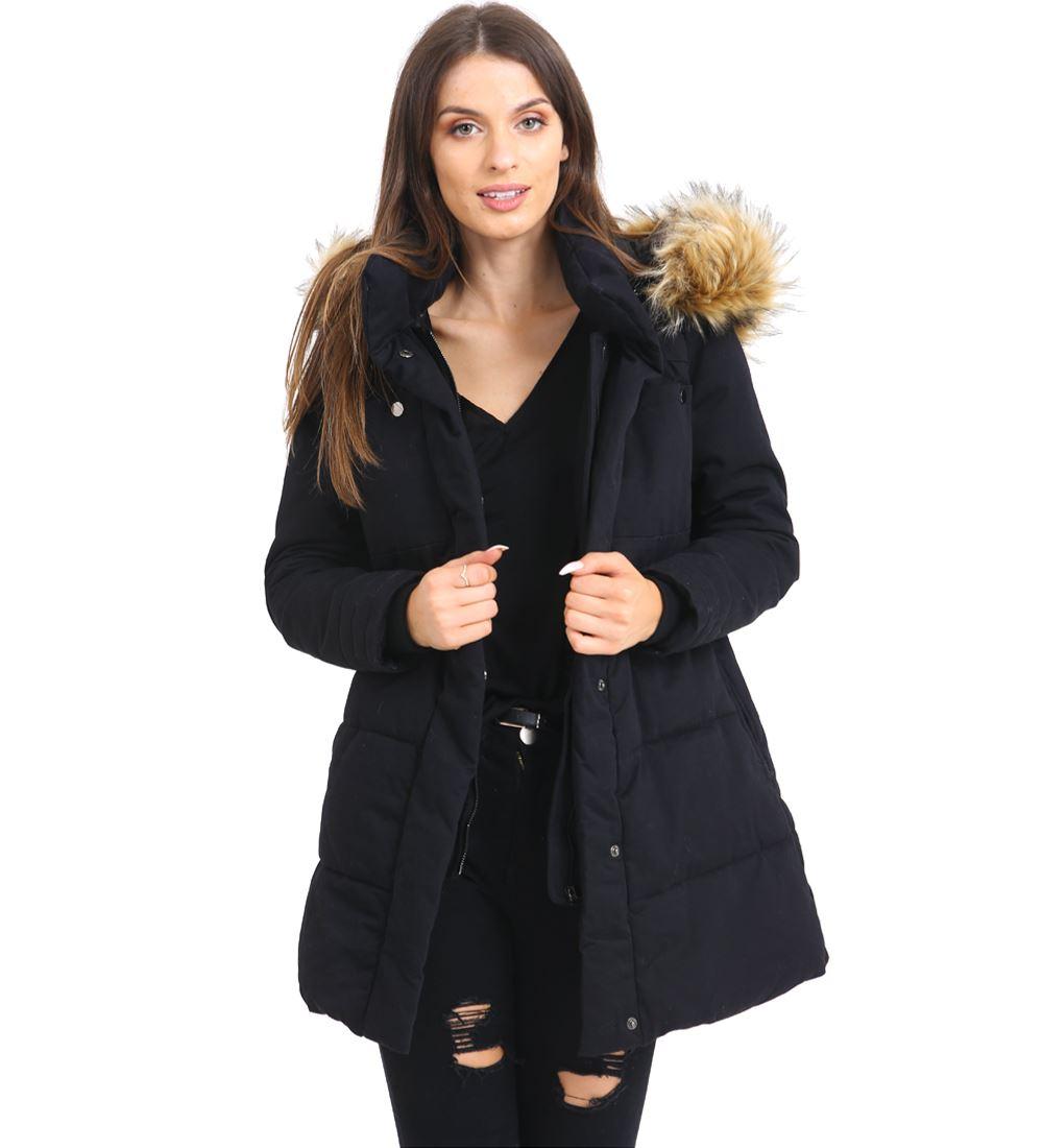 Womens Faux Fur Padded Coat Hooded Parka Black Khaki Size 10 12 14 16