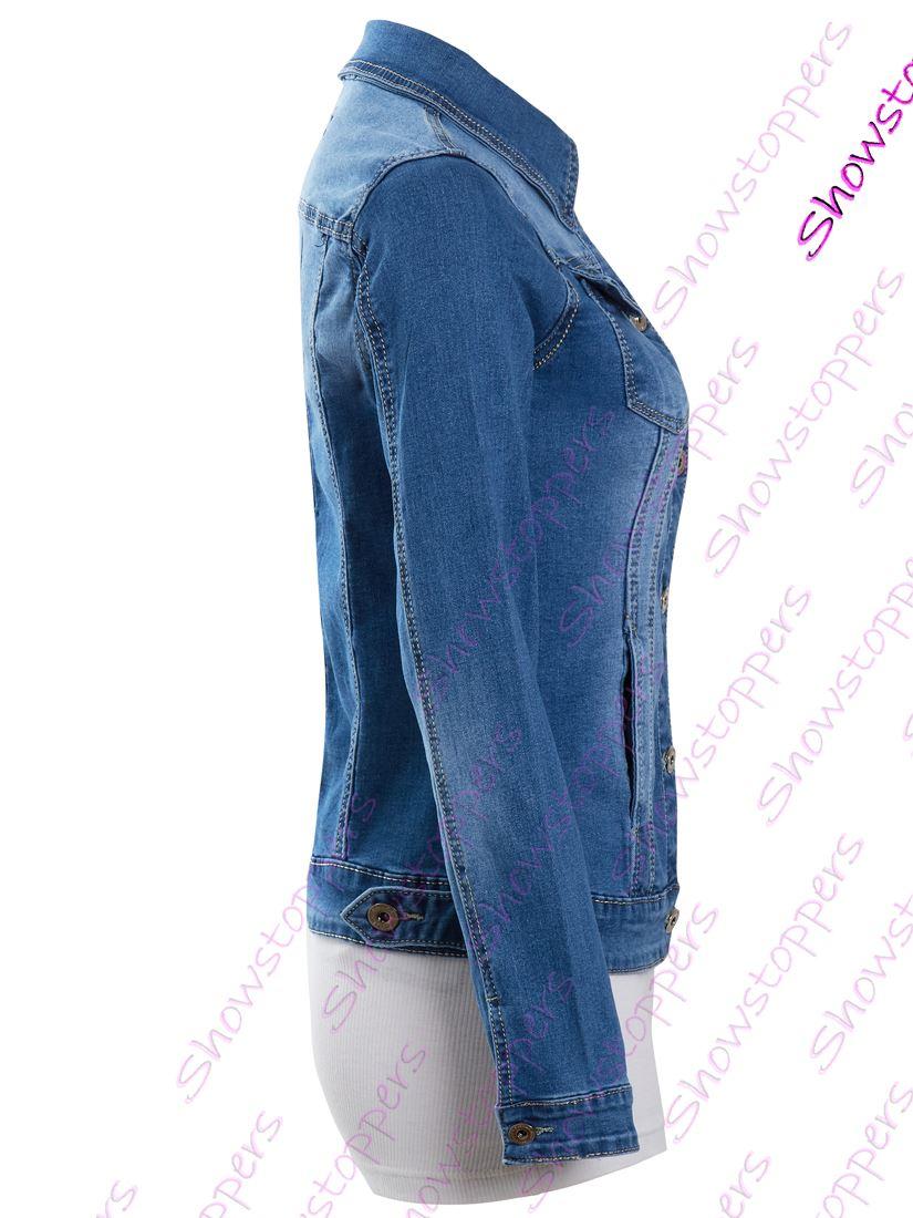 Da Donna Taglia 14 12 10 8 6 16 Stretch Aderente Giacca Denim Blu Donna Jean Giacche
