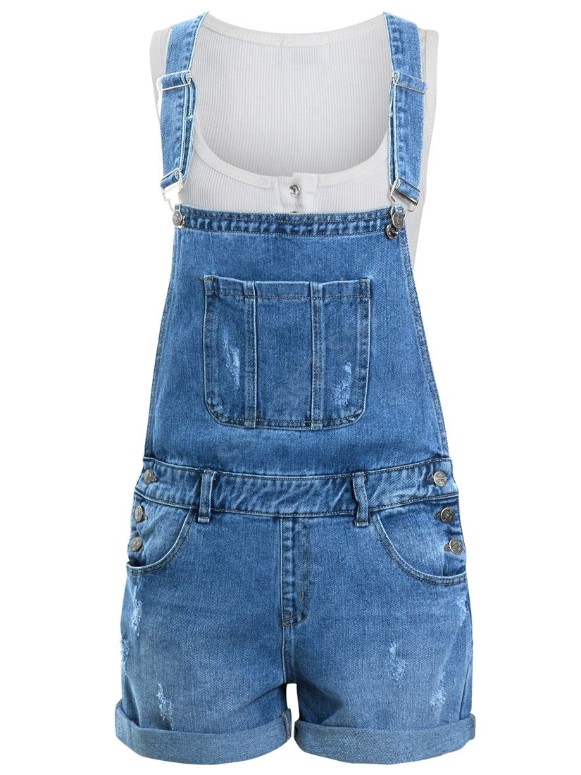 NEW Womens Denim Dungaree Shorts Ladies Jean playsuit Blue Sizes 8 10 12 14 6