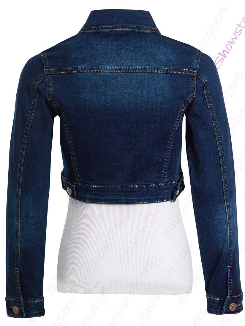 Da Donna Taglia 14 12 10 8 6 Stretch Aderente Giacca di jeans Jean Crop Giacche Indigo
