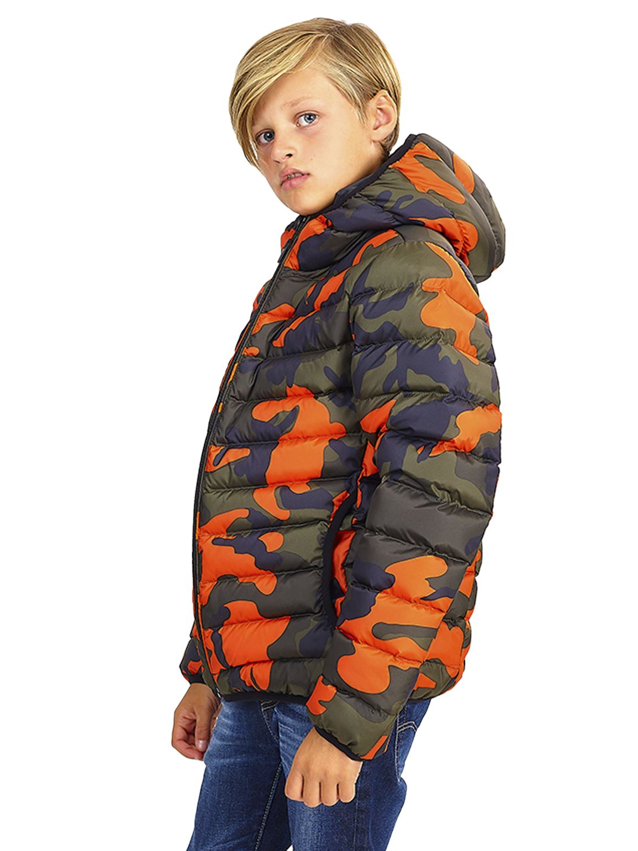 Boys Padded Puffer Coat Ages 7 8 9 10 11 12 13 Years Jacket Camo Khaki Orange
