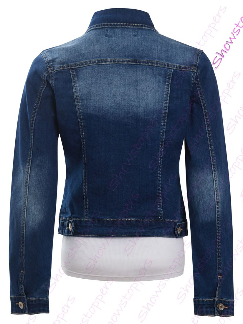 Womens Size 14 12 10 8 6 Stretch Denim Jacket Ladies Jean Jackets Mid Blue