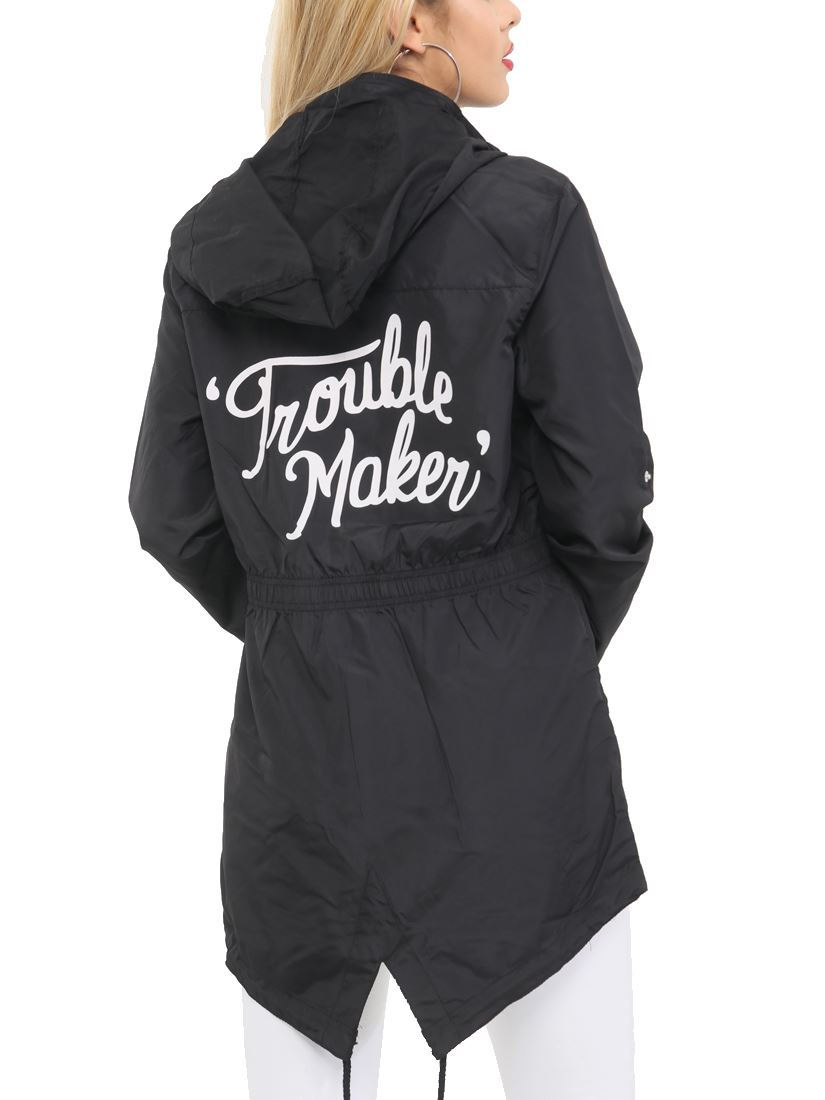 Femme Showerproof imperméable à capuche Trouble Maker Noir Queue de Poisson Taille 10 12 14 16