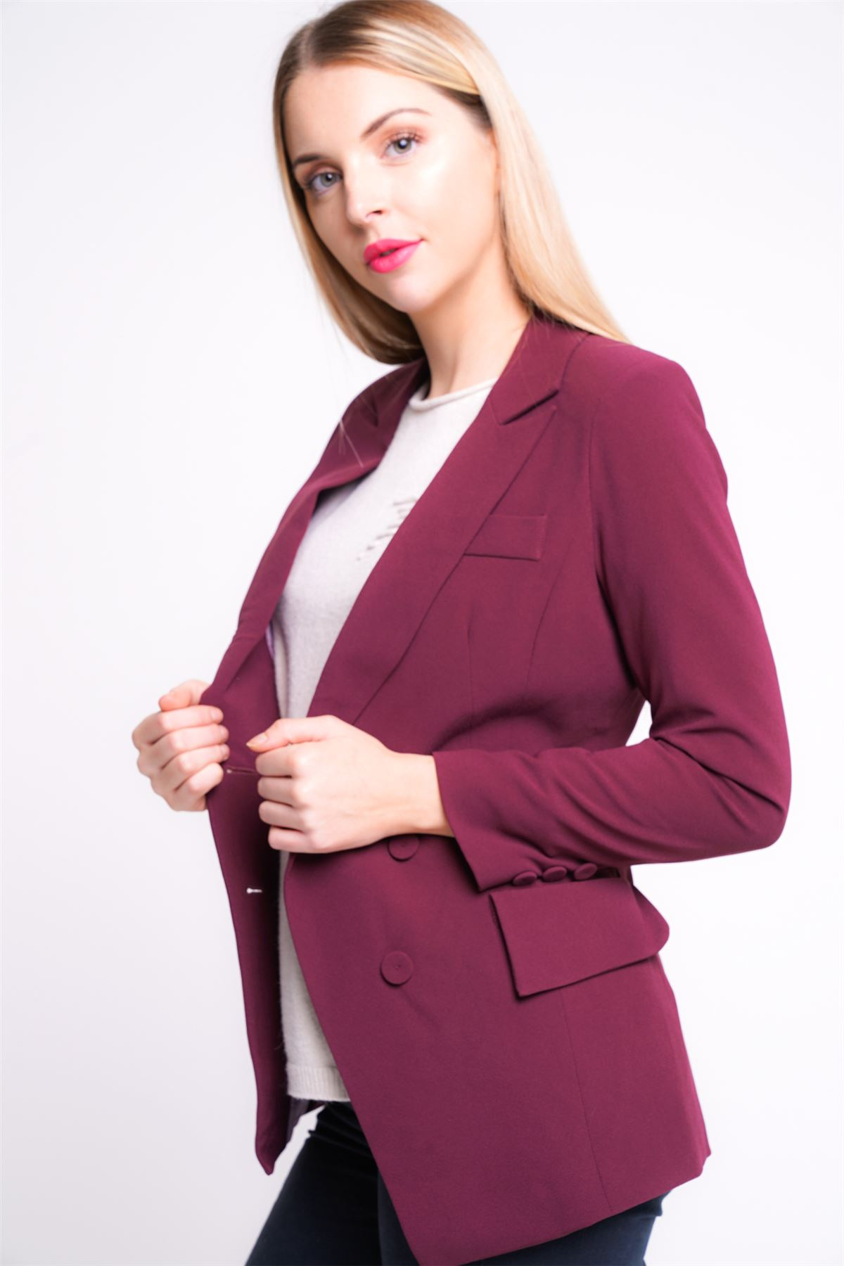 New Womens Tailored Blazer Jacket Size 8 10 12 14 Ladies Coat Wine