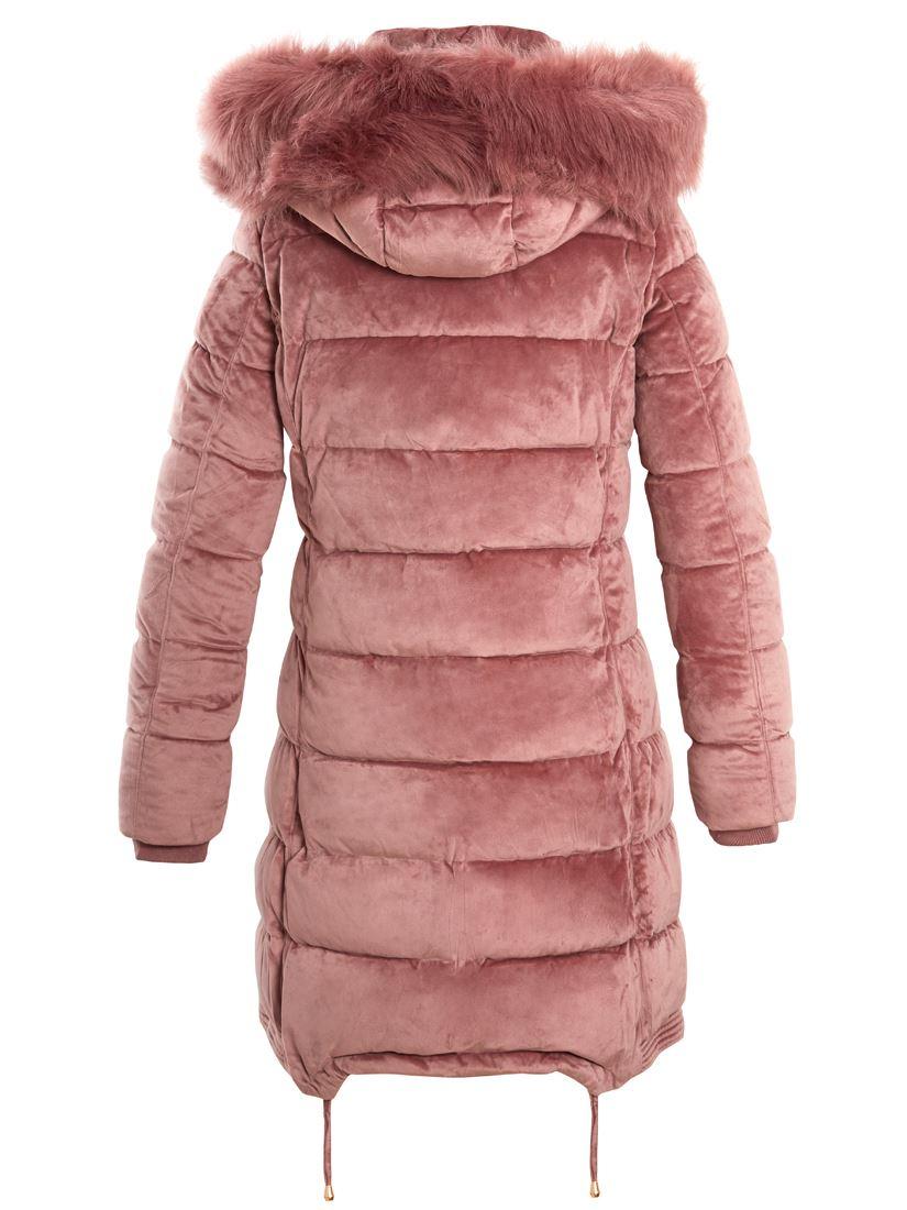 Womens Velvet Puffer Jacket Parka Faux Fur Coat Size 12 8 10 14 16 Black Pink