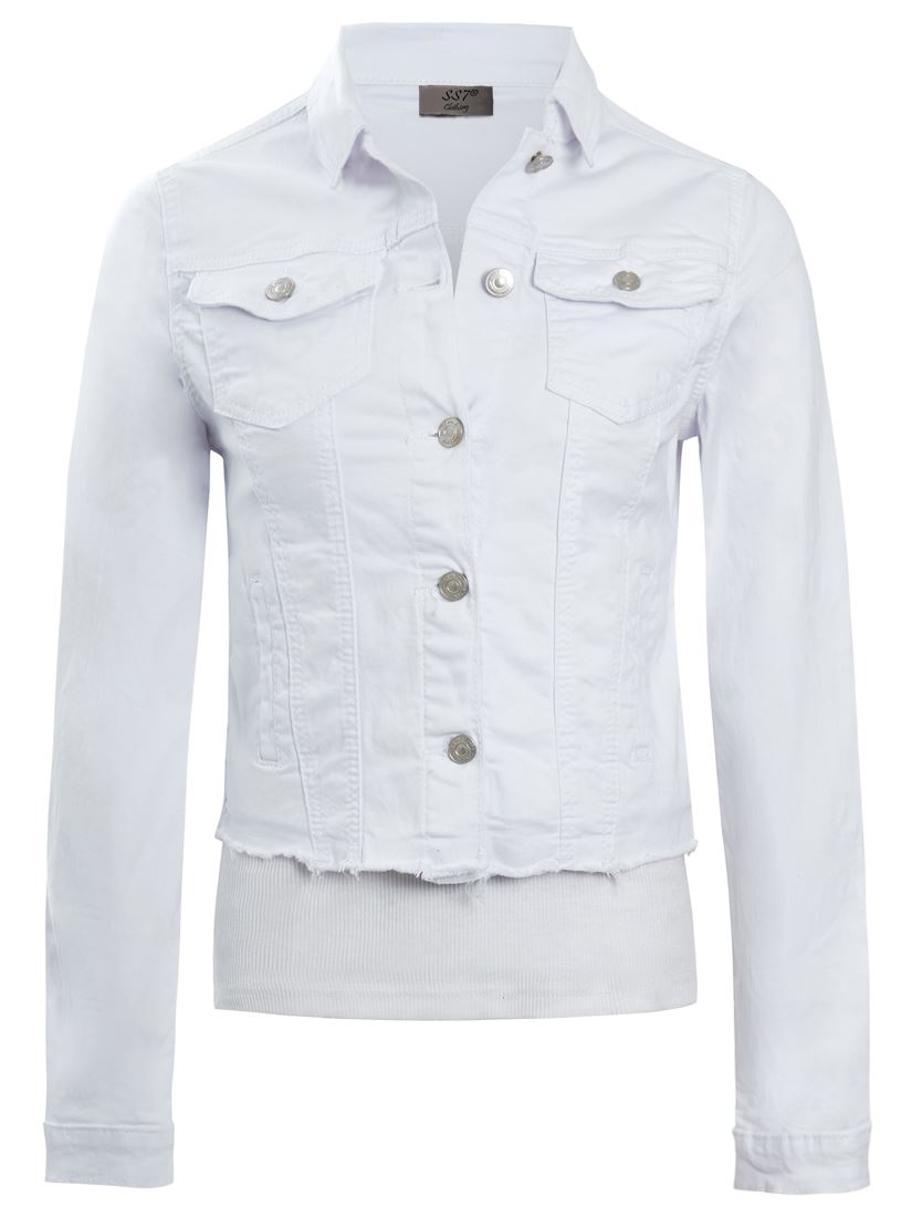 Da Donna Taglia 14 12 10 8 6 Stretch Aderente Giacca di jeans Jean Giacche Nero Bianco