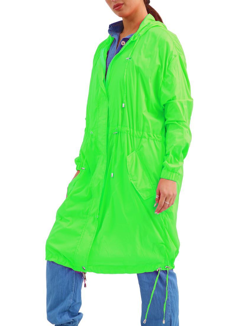 Womens Showerproof Raincoat Hooded Neon Lime Long Size 10 12 14 16 8