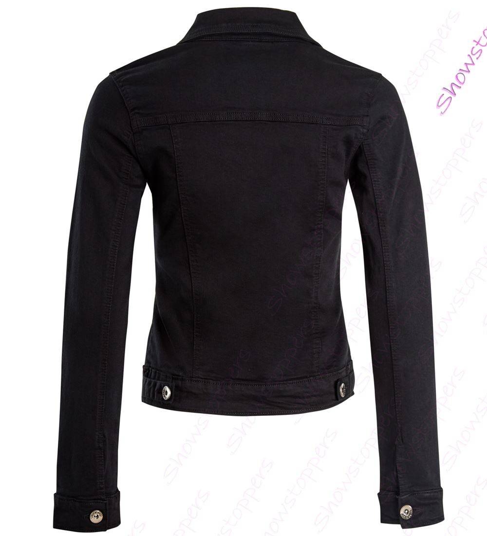 Womens Fitted Denim Jacket Ladies Stretch Black Grey Jean Jackets Size 6 8 10 12