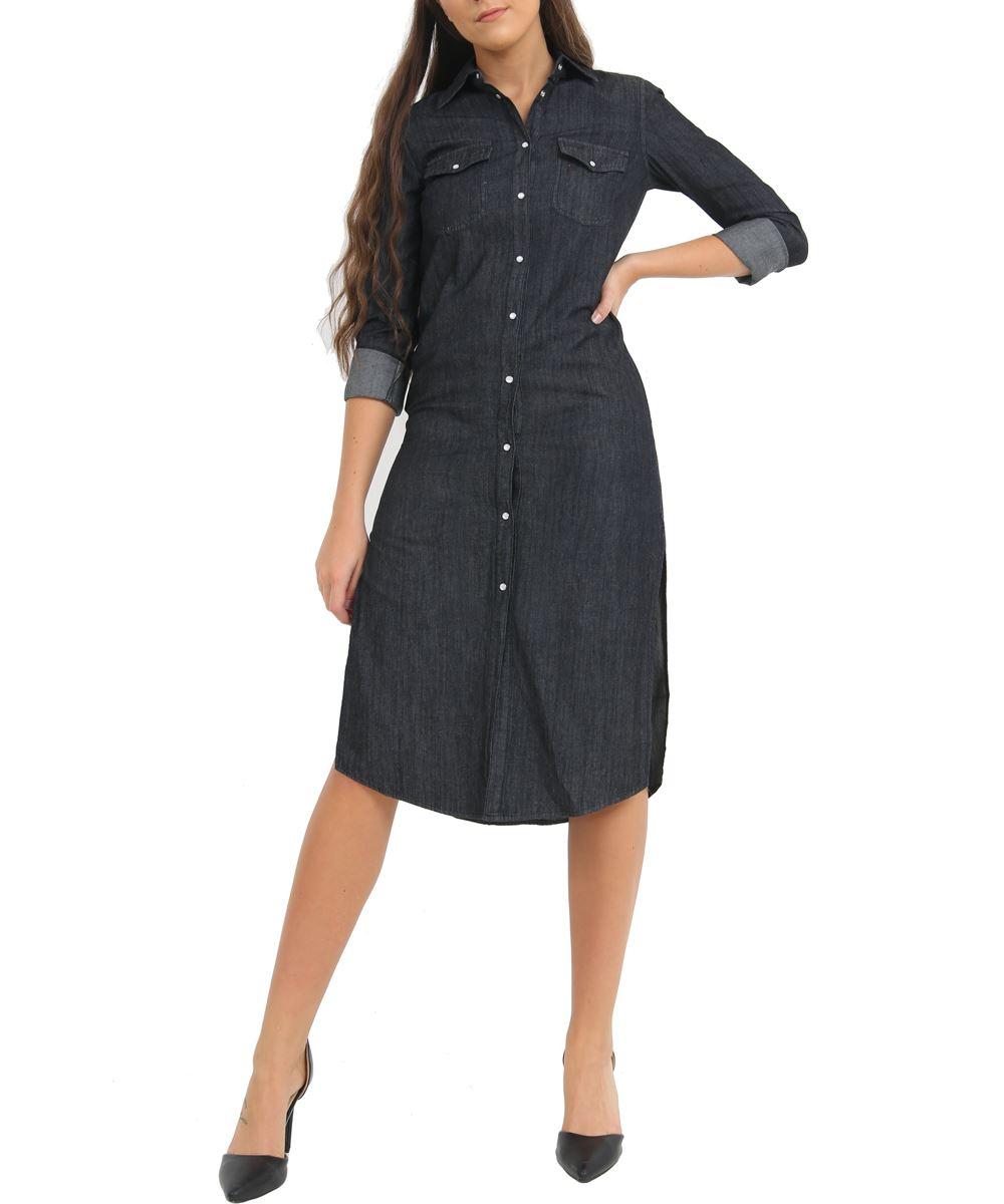 Womens Size 6-14 Longline Denim Shirt Dress Ladies Jean Dresses Black