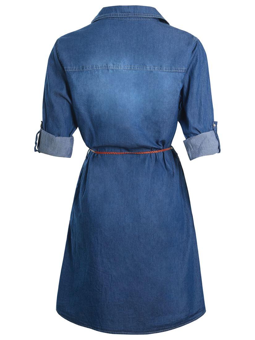Short femme Denim Robe Chemise Femme Coton Ceinture Bleue robes taille 10 12 14 8 NEUF
