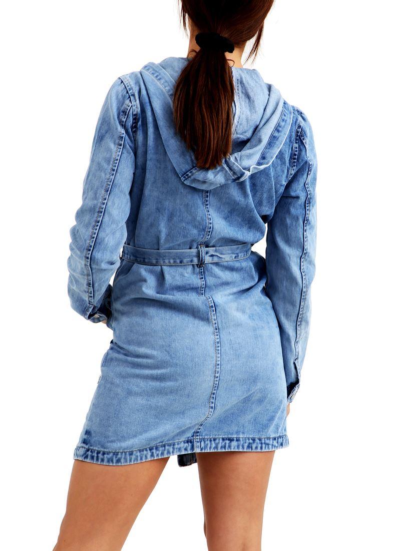 Haut Femme Taille 8 10 12 14 Bustier Denim Veste Manteau Jean Manteau Vestes Bleu