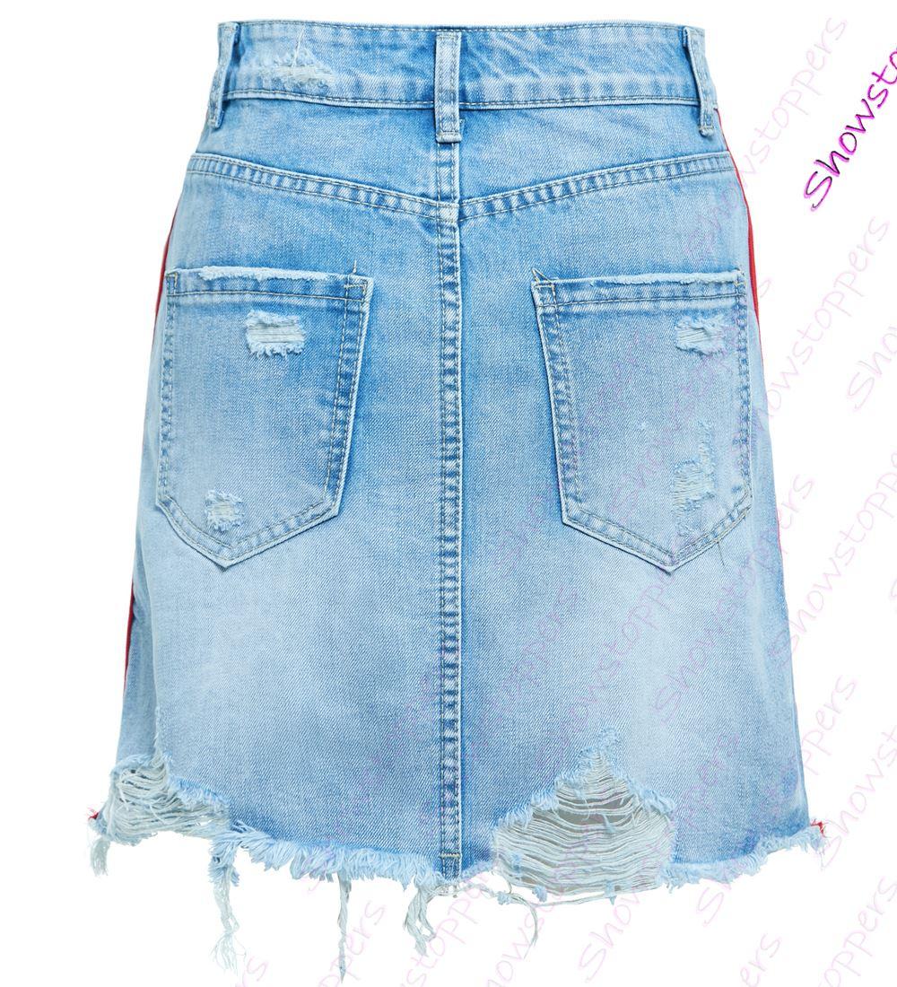 Womens Ripped Denim Skirt Ladies Stripe Frayed skirts NEW Size 6 8 10 12 14 Blue