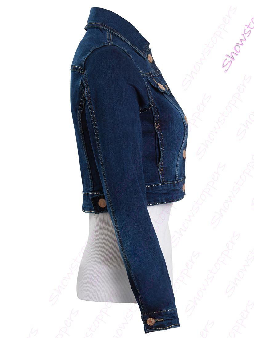 Womens Size 14 12 10 8 6 Stretch Fitted Denim Jacket Jean Crop Jackets Indigo