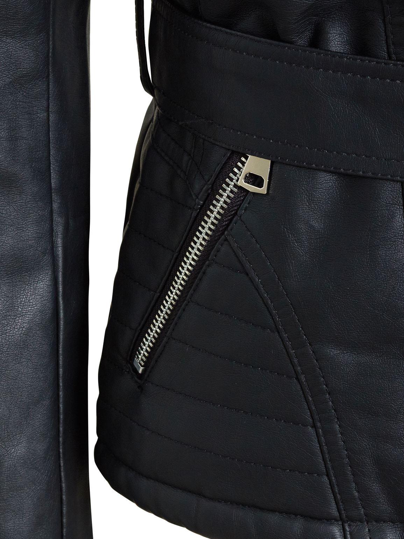 Womens Faux leather Biker Jacket Black Faux Fur Collar Coat Size 8 10 12 14 New