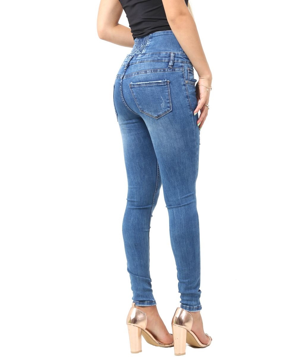 Womens High Waisted Jeans Skinny Denim Blue Jean Size 6 8 10 12 14 New