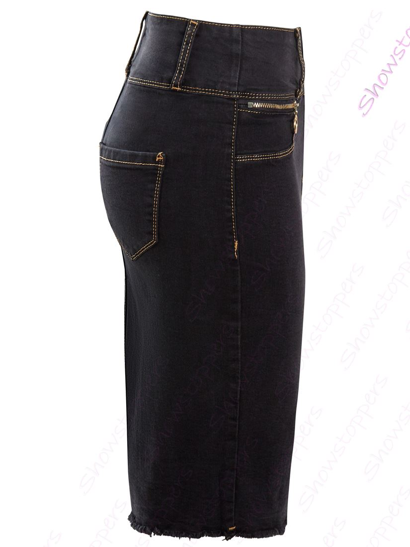 Short femme Denim stretch Jupe crayon droite Jupes Neuf Taille 10 12 14 8 6 Noir