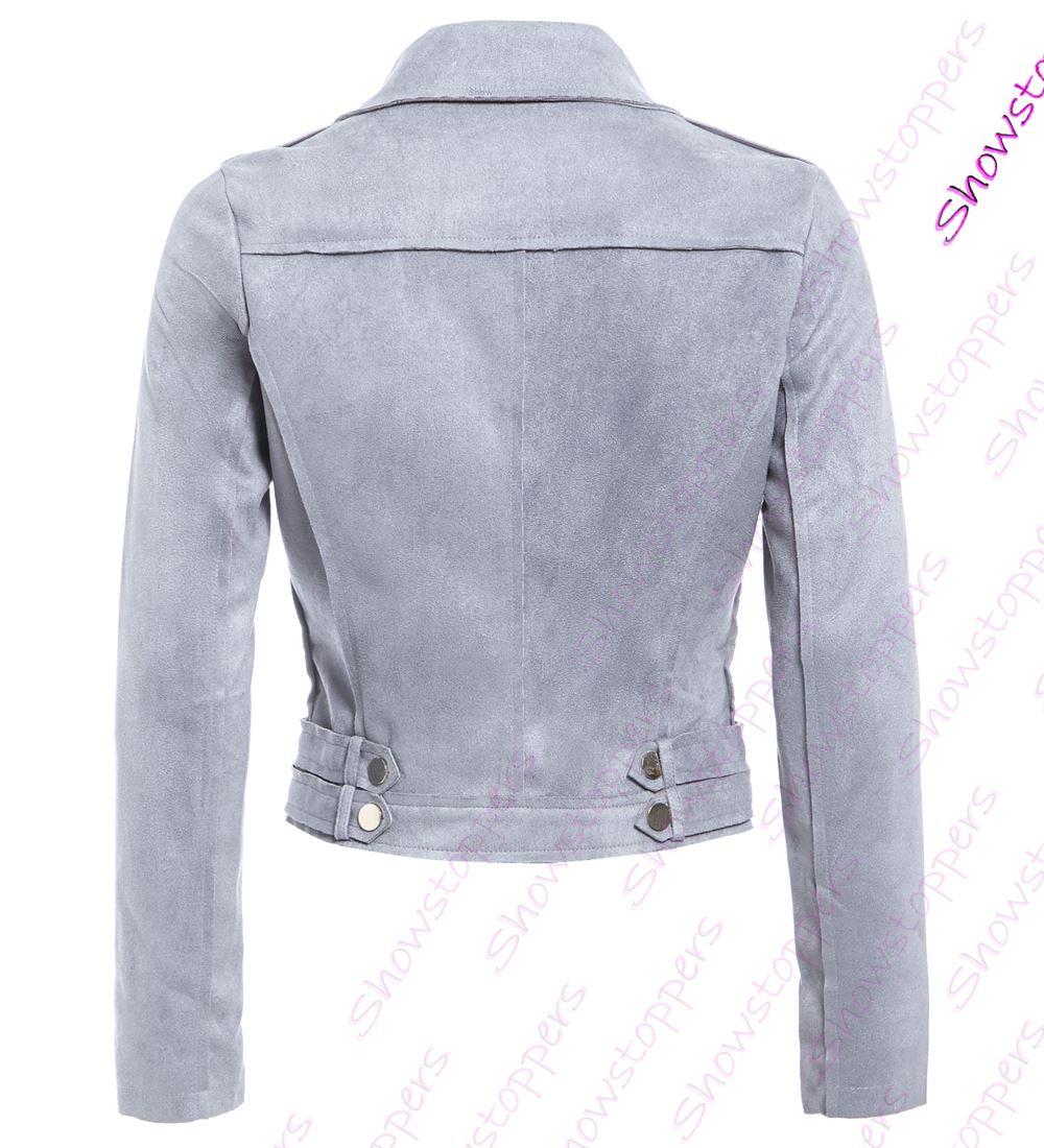 Womens Faux Suede Biker Jacket Ladies Size 8 10 12 14 Black Grey New