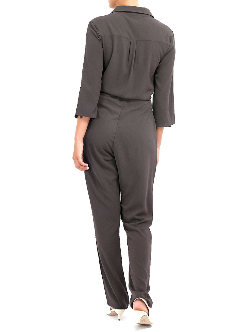 Womens Jumpsuit Elasticated Waist Boiler Suit Khaki Size 10 12 14 8 All in One