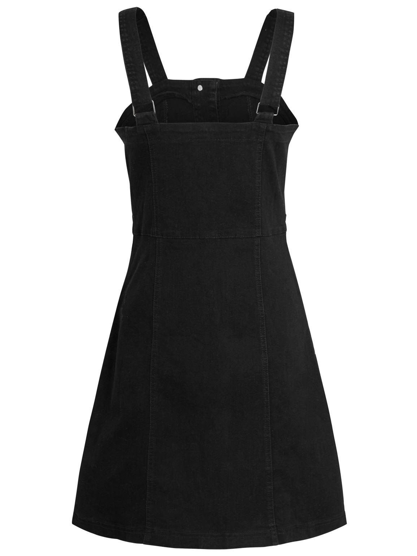 Womens Denim Dress Stretch Sleeveless Pinafore Dresses Black Size 8 10 12 14