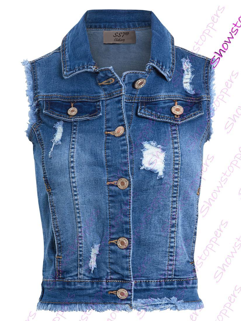 Womens Denim Gilet Jacket Stretch Jean Rip Waistcoat Size 8 10 12 14 6 4 Blue