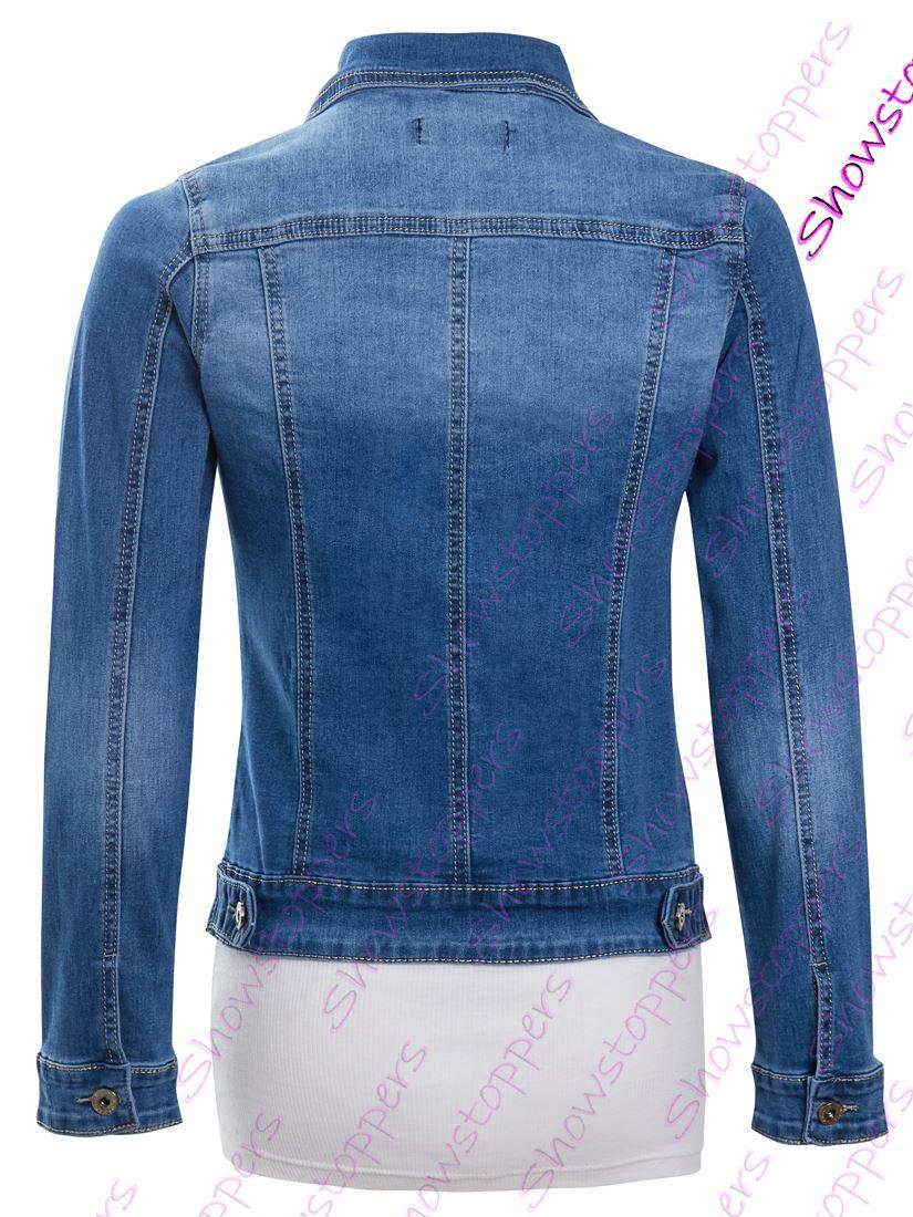 Para mujer Talla 14 12 10 8 6 16 Chaqueta De Jean Denim Elástico Ajustado Chaquetas azul señoras