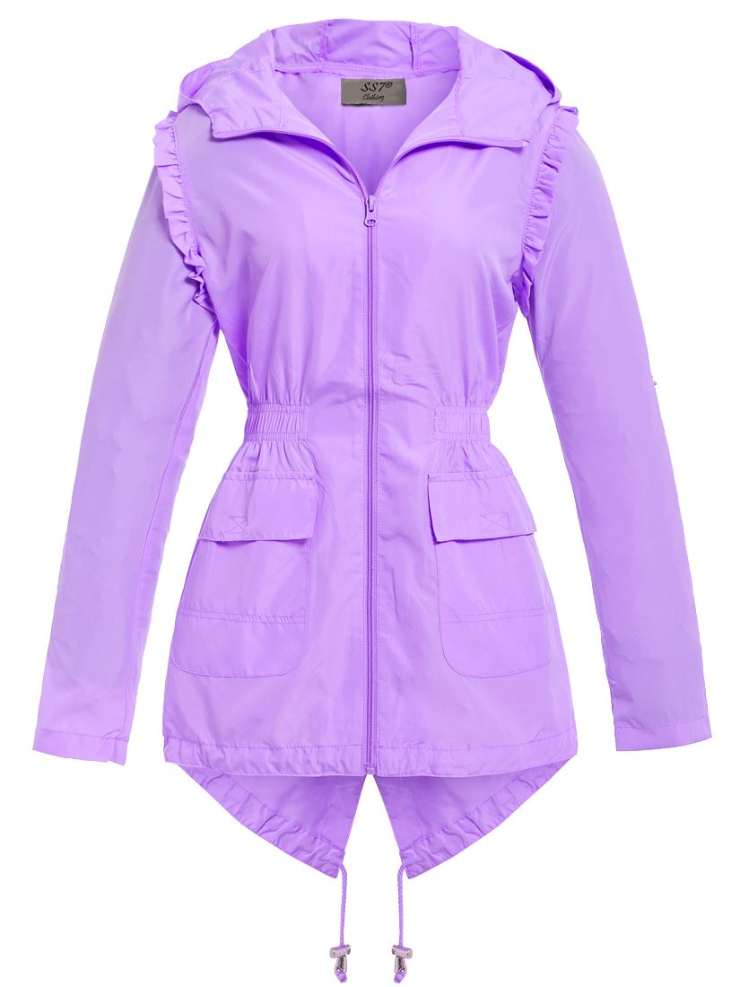 Womens Showerproof Raincoat Hooded Frill Fishtail Pink Lilac Size 10 12 14 16 8
