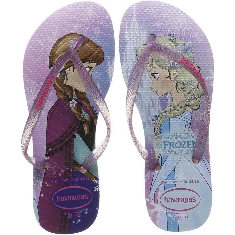 lilas blanc caoutchouc Flip Flops Havaianas Slim Princesse Disney Frozen rose