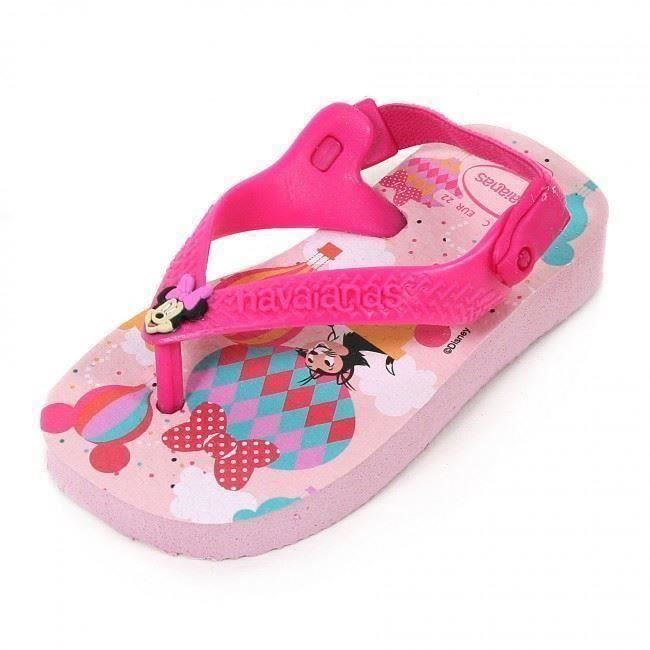 Havaianas Disney Minnie Mouse Baby Kids White Flip Flop Sandals Shoe All Sizes