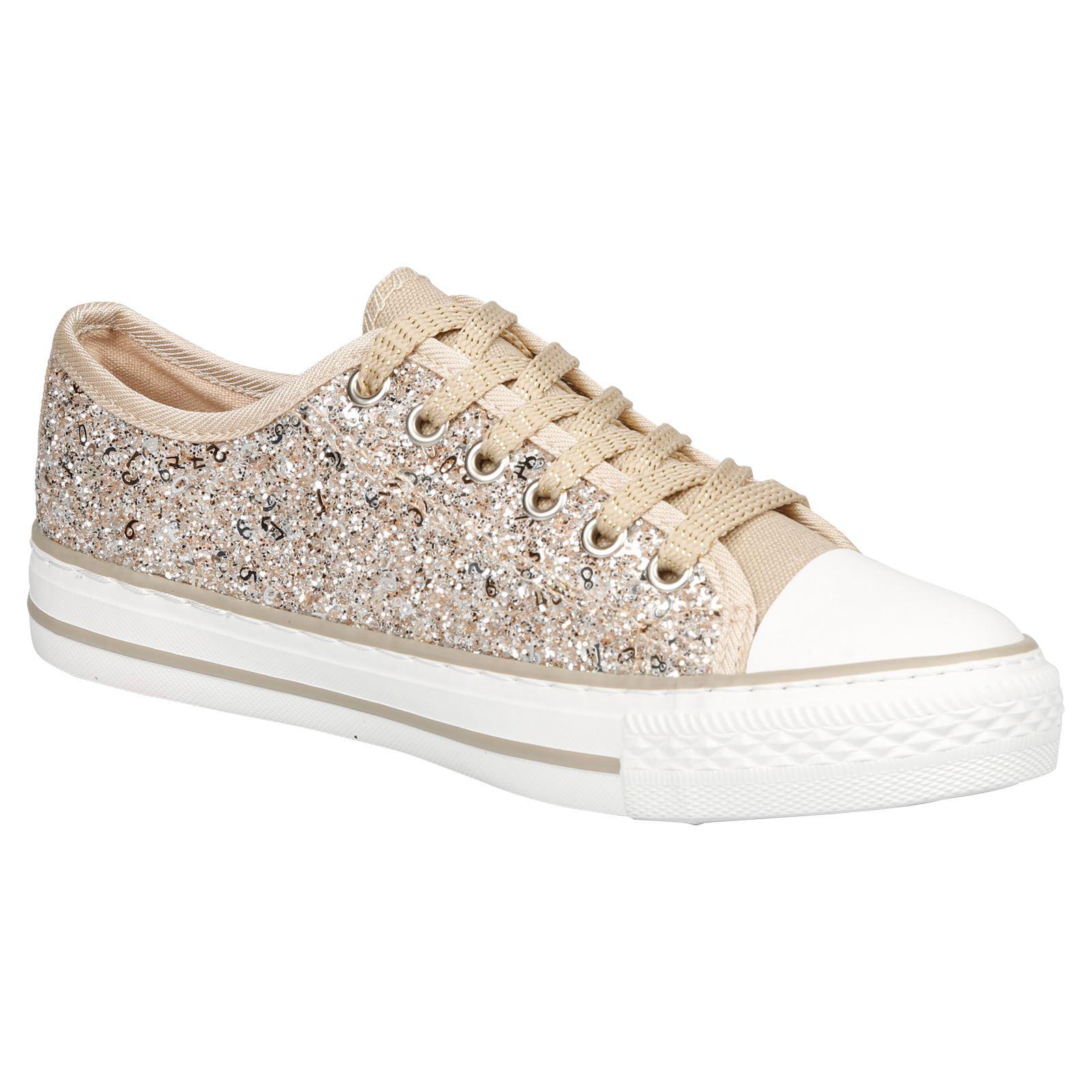 Nouveau Haut Chaussures Femme Glitter Platform Baskets à Lacets Escarpins Casual Style