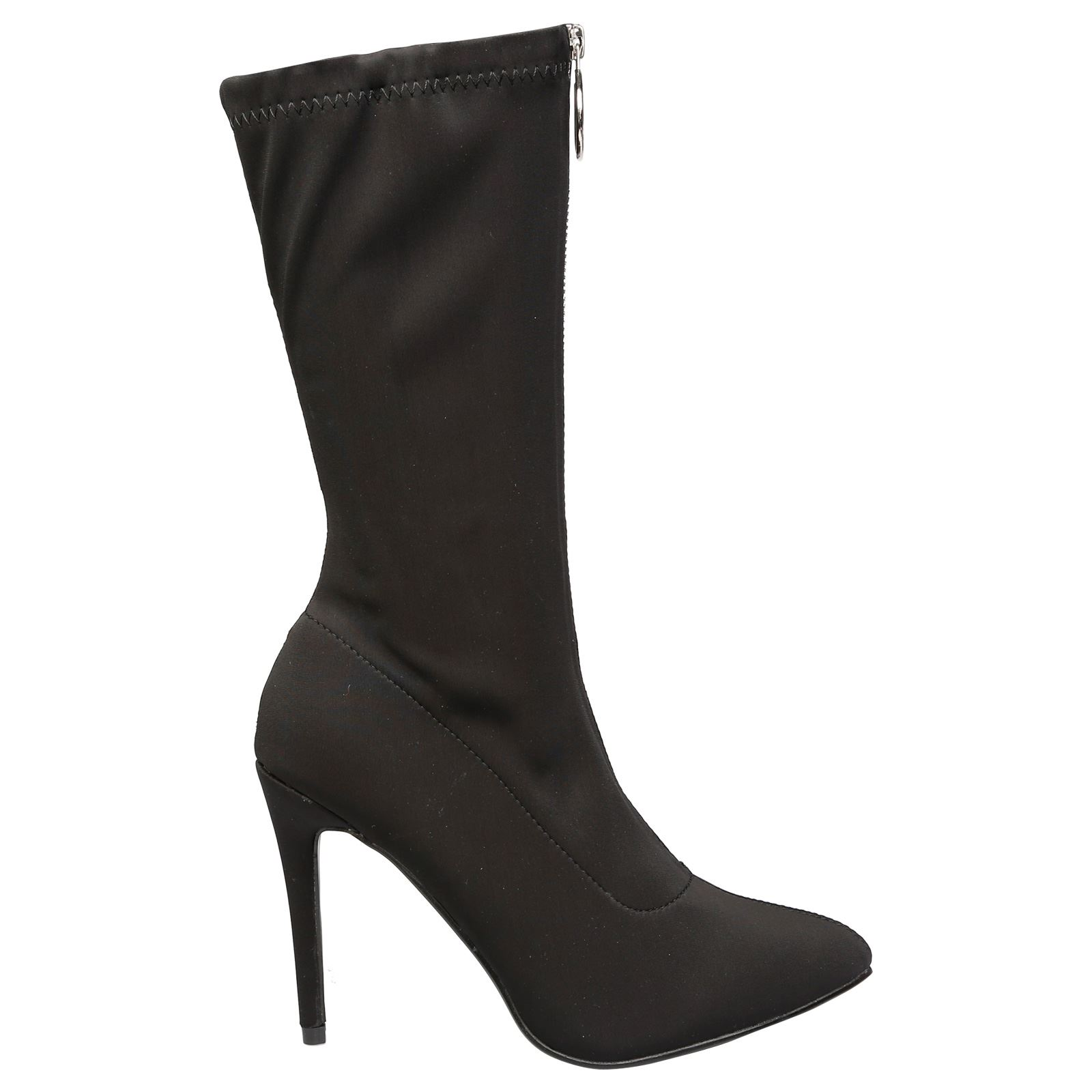 Cynthia Womens Stilleto Heel Zip Up Pointed Toe Mid Calf Boots Ladies Shoes Size