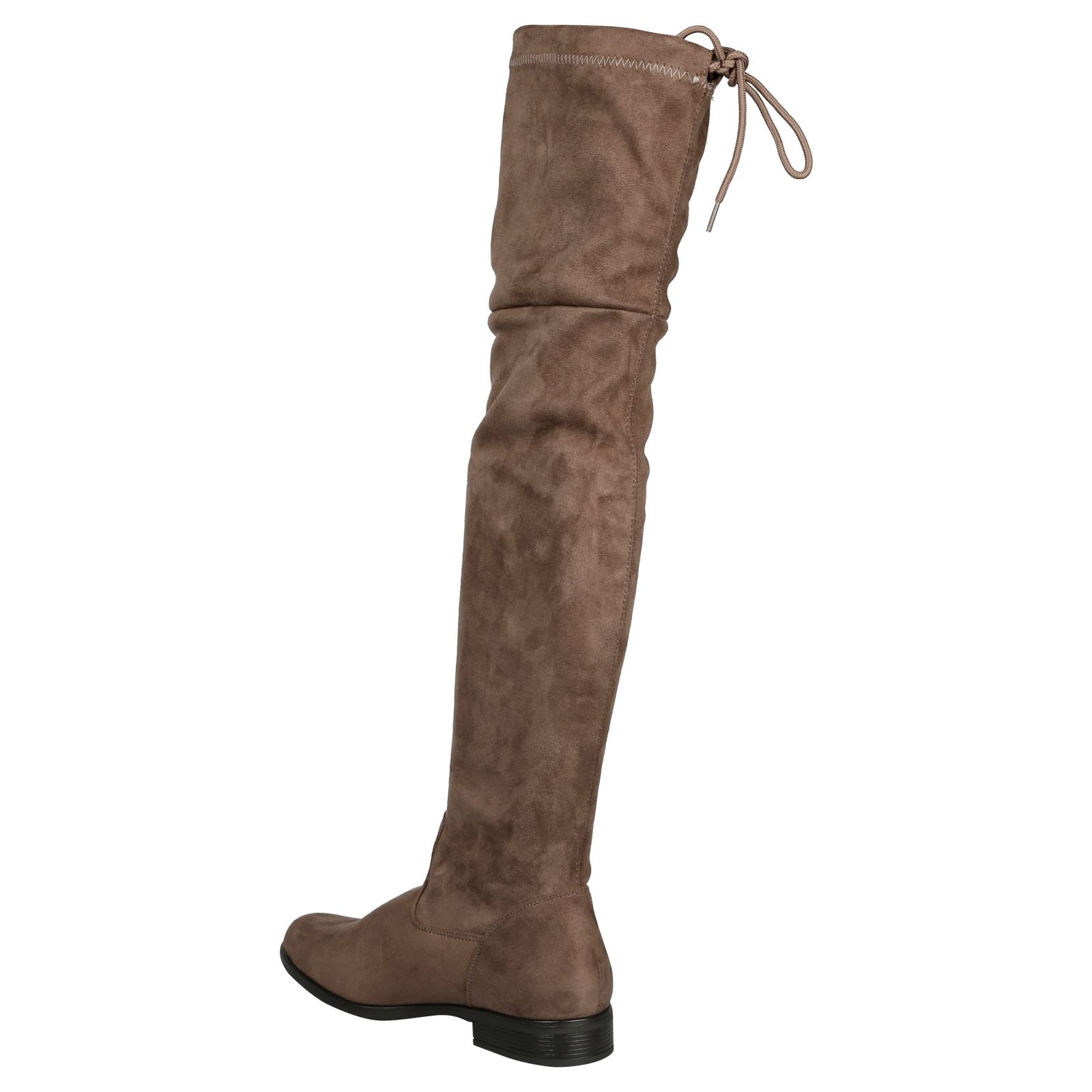 Anabelle Womens Over-the-knee Boots Low Heel Flat Comfy Adjustable Fit Casual