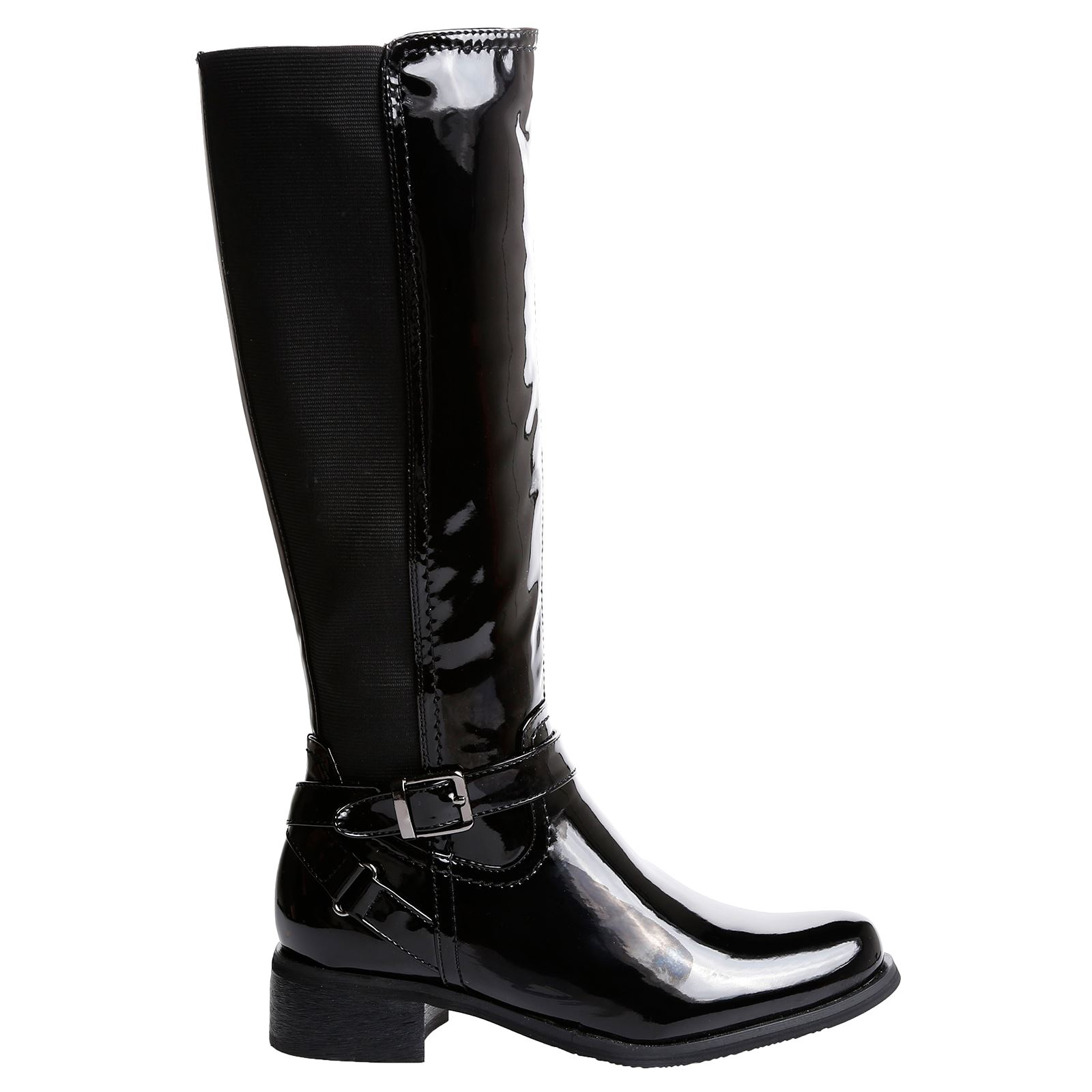 R1Y Ladies Knee High Boots Stretchy Elastic Buckle Zip Up Womens Shoes Size New