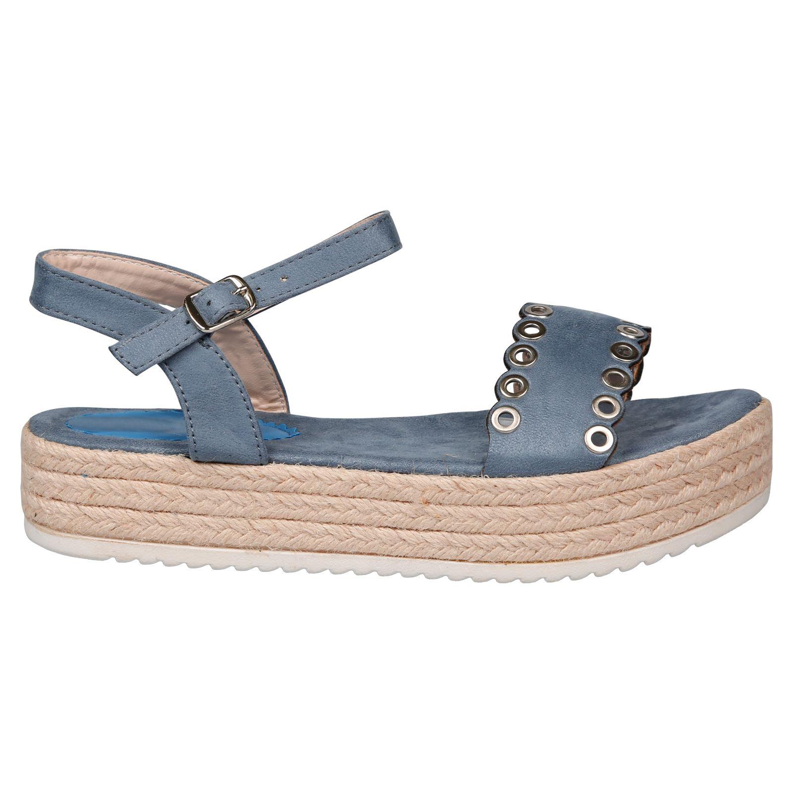 Perrie Womens Flat Low Heel Flatform Eyelet Espadrille Sandals Ladies Shoes Size