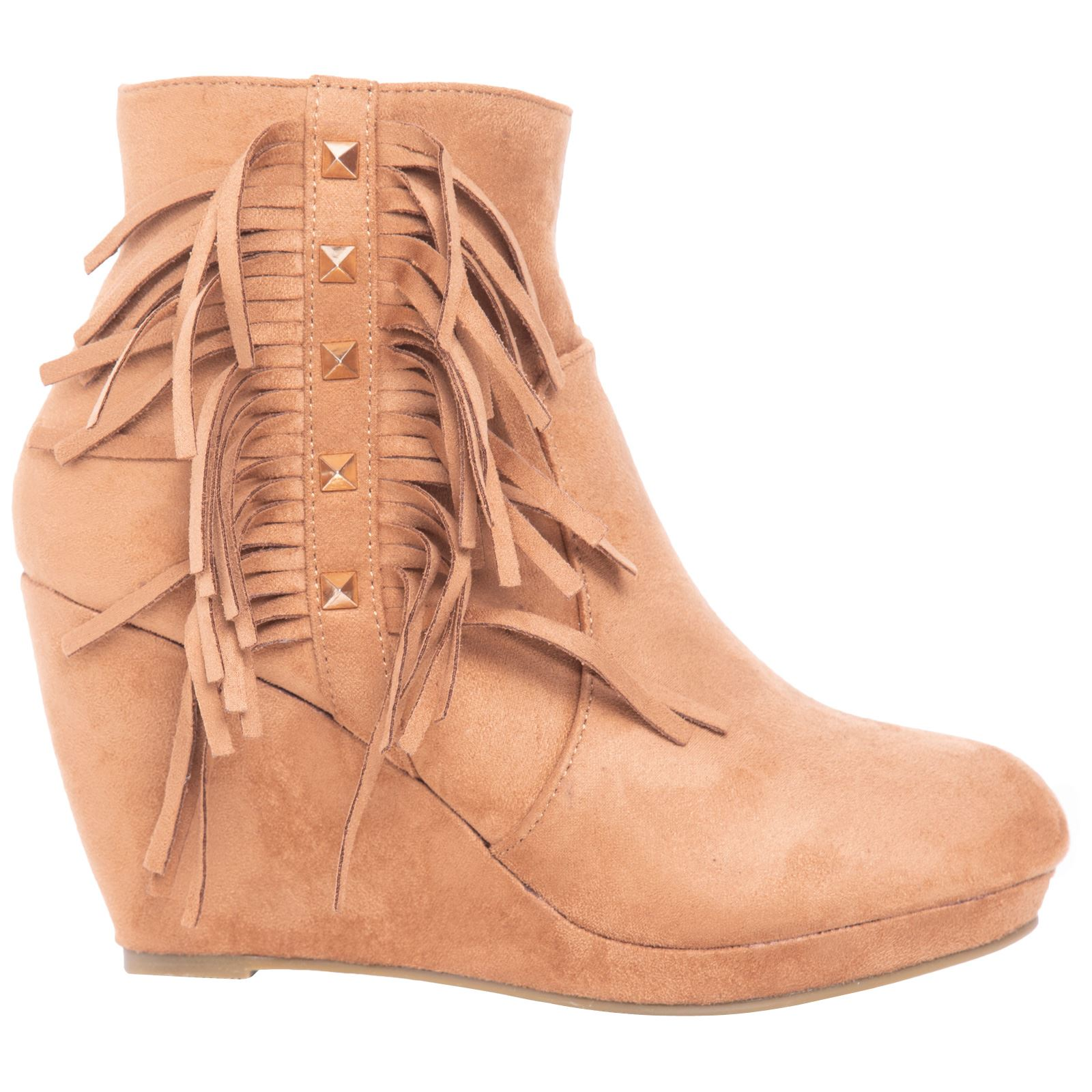 Orabella Womens Low Mid Wedge Heel Lace Up Zip Up Studded Tassles Casual Style