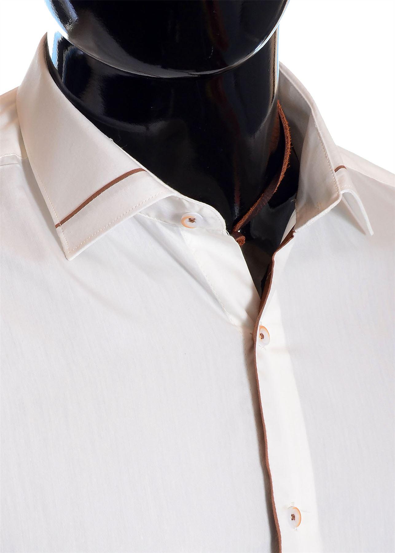 Men/'S Avorio Vestito Camicia polsini doppi libero Square Gemelli cotone marrone di tubazioni