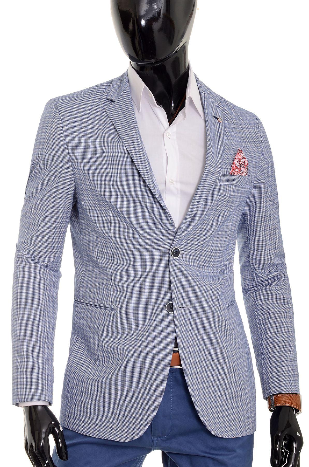 Mens Checkered Blazer Jacket Formal Blue Brown Paisley Finish Cotton Regular Fit