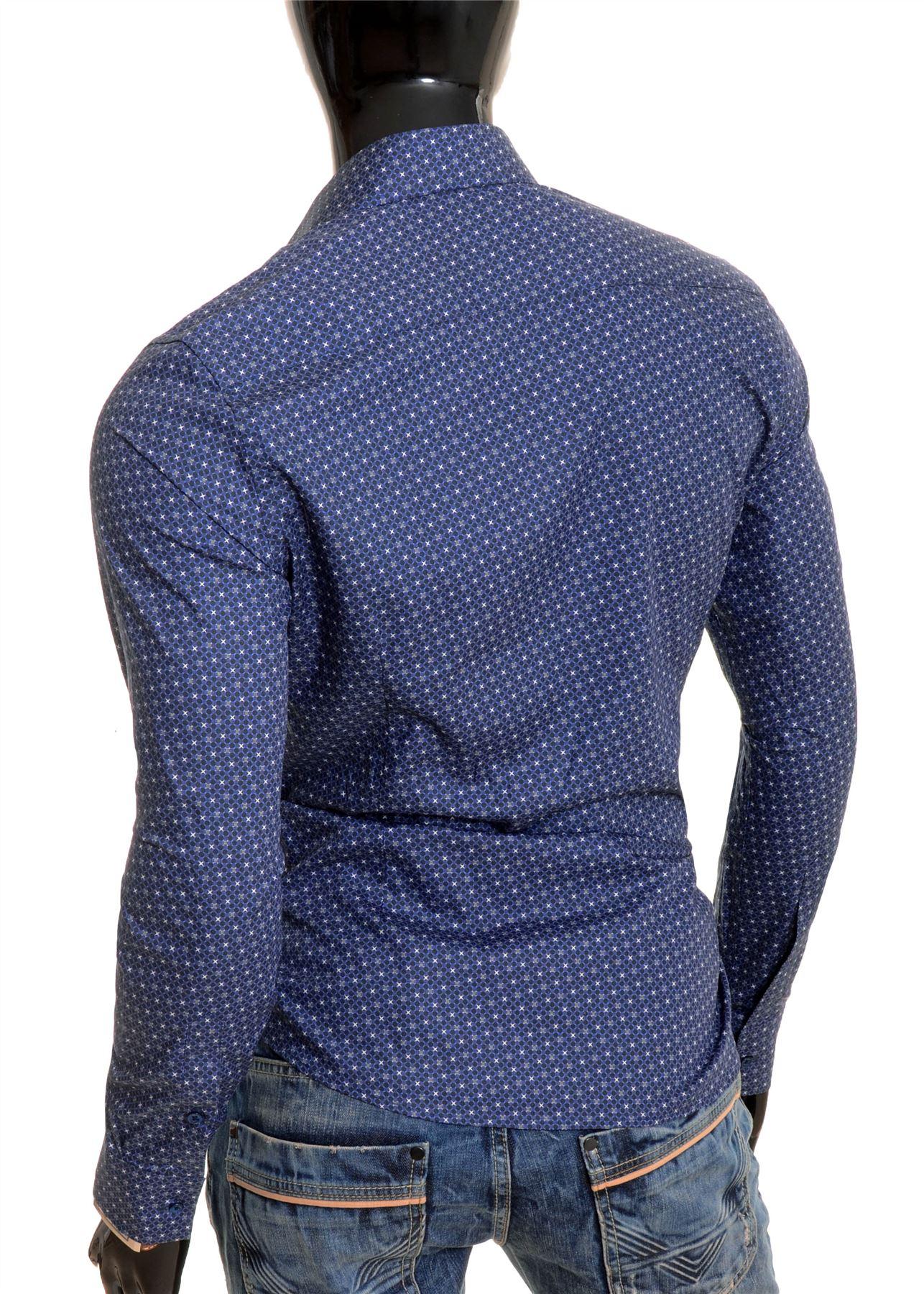 Cipo /& Baxx Men/'s Elegant Shirt Dark Blue Classic Spotted Pattern Cotton Slim