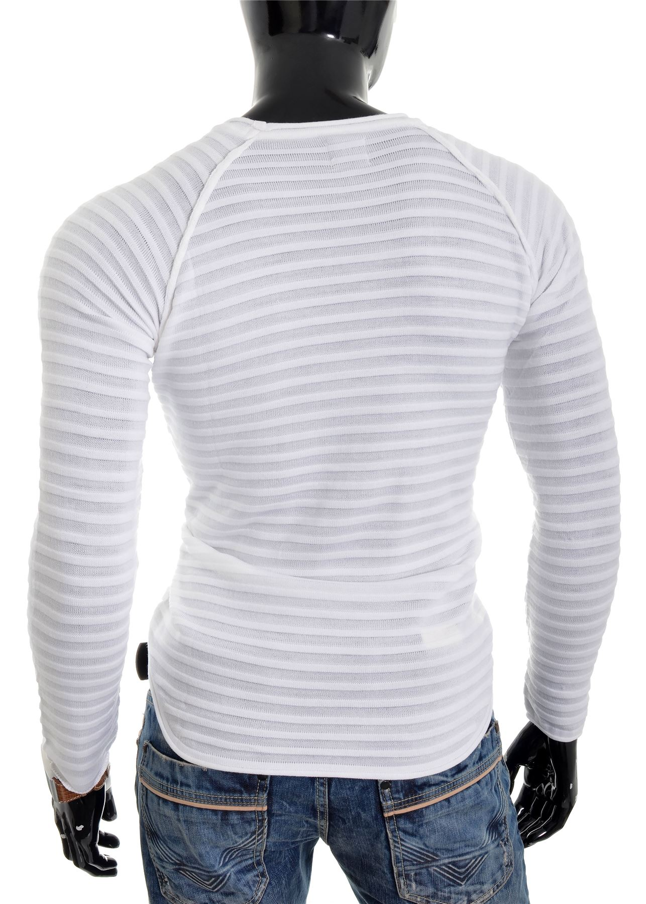 D/&R Mens ribbed pullover black white fitness jumper cotton crew neck knitted